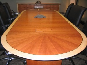 racetrack shaped conference table wood