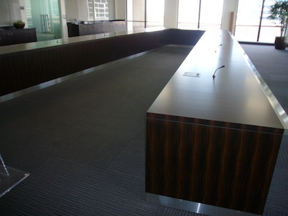 Ushapedconferencetablewoodstainlessoncor HardroxHardrox - V shaped conference table